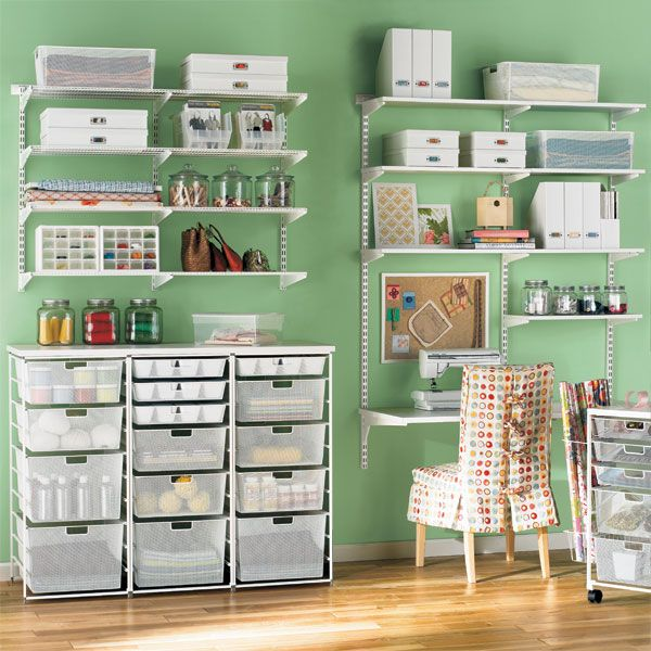 The Container Store > White elfa Mesh Craft Room - LOVE it!!! I'd try a bluish tone wall paint, though (: