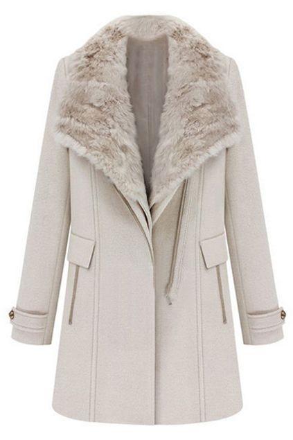 ROMWE | Two-piece Fake Fur Collar Cream Woolen Coat, The Latest Street Fashion