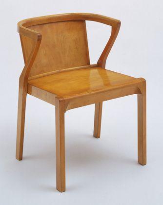 "Stacking Armchair Alvar Aalto (Finnish, 1898–1976) 1929. Solid and laminated birch and plywood, 27 x 20 x 21"" (68.6 x 50.8 x 53.3 cm). Manufactured by Oy Huonekalu-ja Rakennustyötehdas Ab, Turku, Finland. Gift of Michael Whiteway"