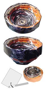Art Projects for Kids: Recycled Magazine Bowls