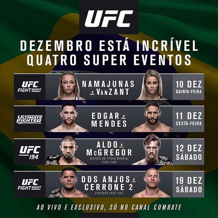 Fique ligado nas datas dos quatro grandes eventos que o UFC nos reserva para dezembro. E aí quem já está contando os dias para ver todos os lutadores em ação?  #ufc #ultimate #mma #MMA #luta #oss #tatame #jiu #jiujitsu #bjj #brazilianjiujitsu #jits #jiujitsulifestyle #bjjlifestyle #bjjlife #boxe #boxing #muaythai #judo by tatamemagazine