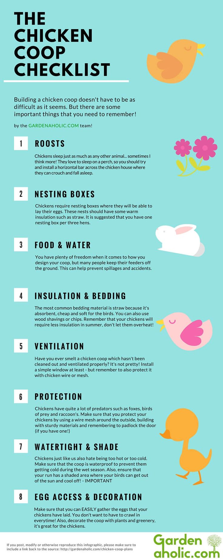 Control your own food supply with backyard chickens. Quickly learnwhat your chickens need withthis handy Chicken Coop Checklist Infographic. You