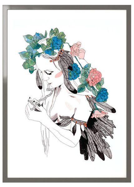 """Native Rose"" by Hannah Gilson #flowers #jaybird #illustration"