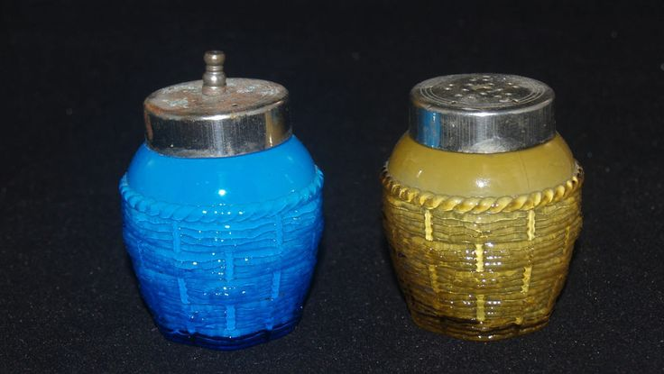 ANTIQUE EAPG GLASS PAIR OF SALT SHAKERS CASED GLASS BLUE YELLOW BASKETWEAVE
