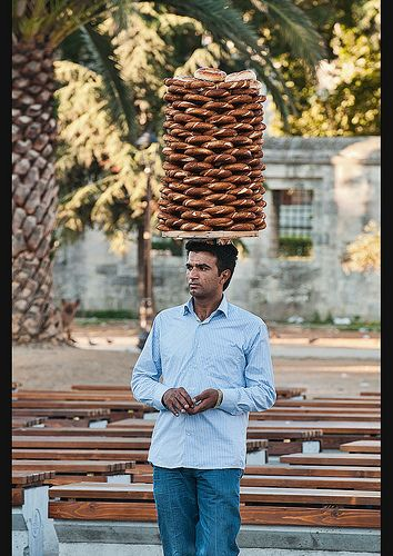 Turkish pretzel (Simit) seller, Istanbul, Turkey