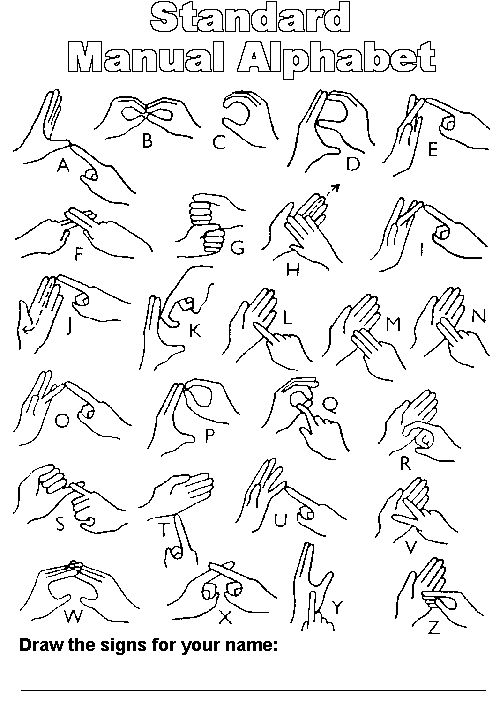 Providing two handed alphabet and tips for the messenger and the receiver. Also the history of sign language.