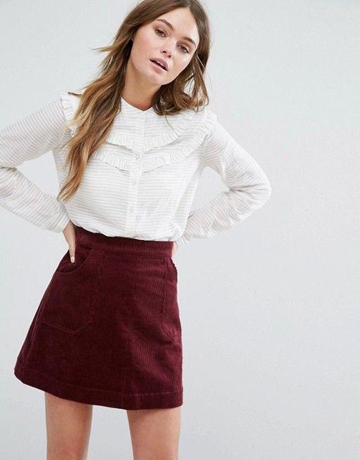 Jack Wills White Frill Shirt and burgundy conduroy skirt at Asos