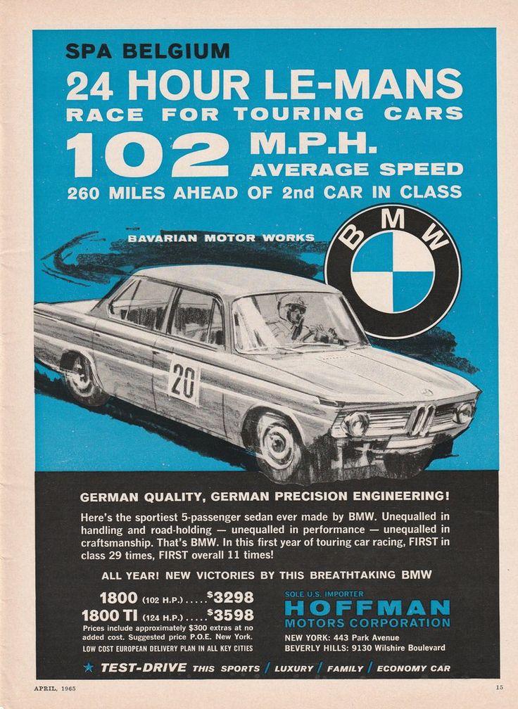 1965 BMW 1800 & 1800 TI - 24 hour Le Mans vintage ad