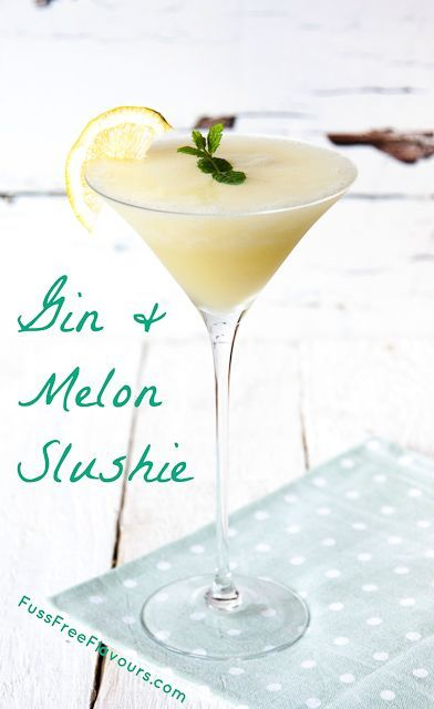 A delicious refreshing cocktail made by blending gin and frozen melon