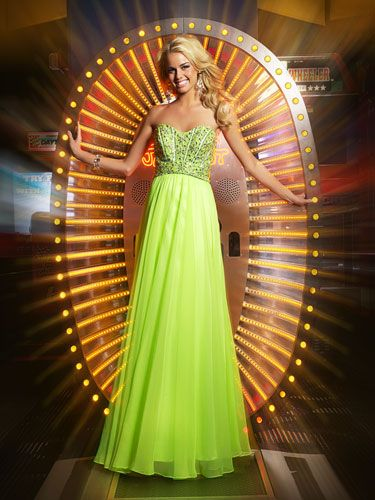 Long Neon Green Dress With Sparkly Corset