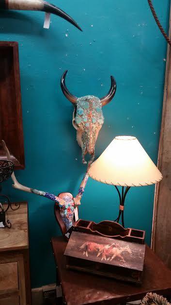 Mosaic Turquoise Steer and Buck Skulls for sale at Urban Renewal in St. George, Utah