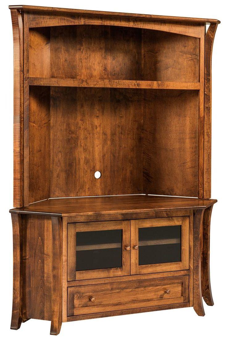 Ann mirror insert double door single drawer wooden corner cabinet - Amish Caledonia Flat Screen Tv Corner Cabinet