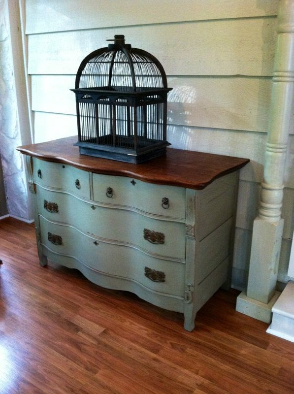 Painted Wooden Sideboard ~ Antique buffet dresser or sideboard distressed wood