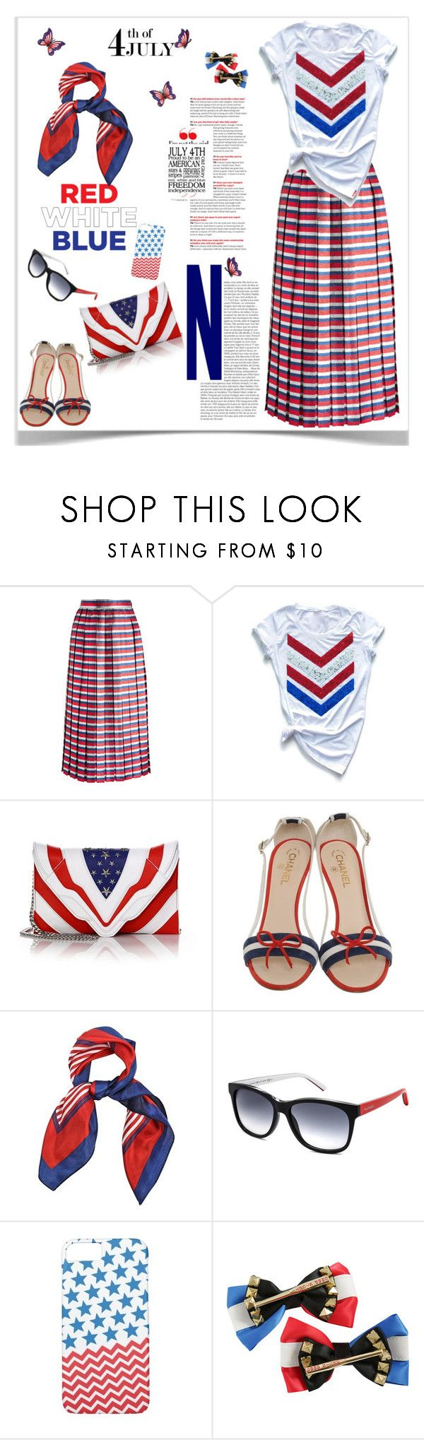 """""""Red, White & Blue: Celebrate the 4th of July"""" by ellie366 ❤ liked on Polyvore featuring Gucci, Elena Ghisellini, Chanel, Tommy Hilfiger, Case-Mate, DC Comics, stripes, fourthofjuly, citychic and redwhiteblue"""