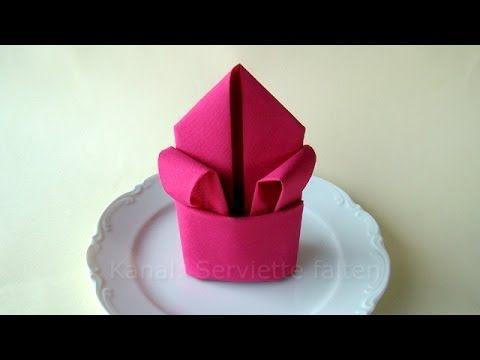 Servietten falten Lilie - Tischdeko z.B. für Hochzeit & Geburtstag - YouTube