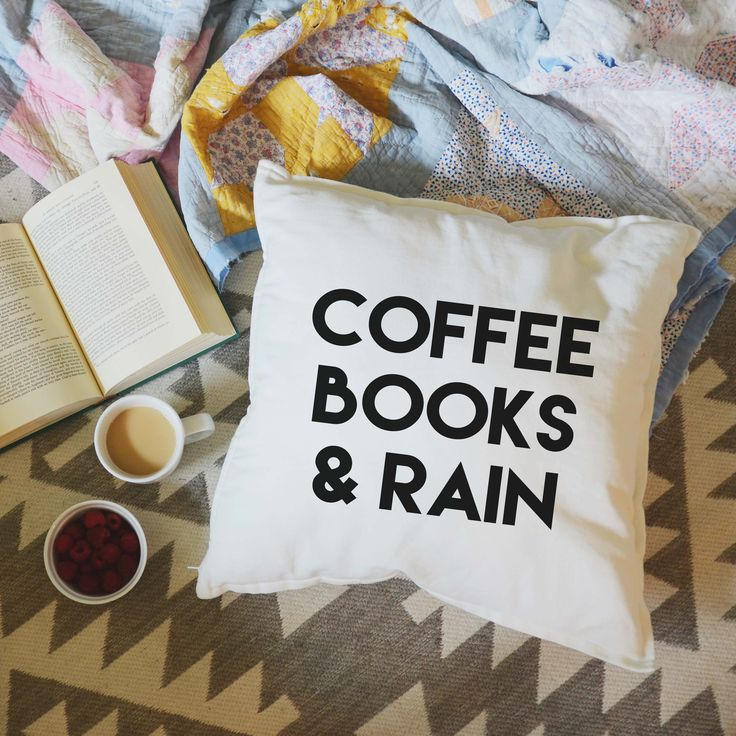 Coffee Books & Rain Pillow (seriously my 3 favorite things in the world)