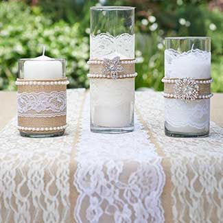 Burlap, pearls, brooches & lace vase accents - #wedding #decorations