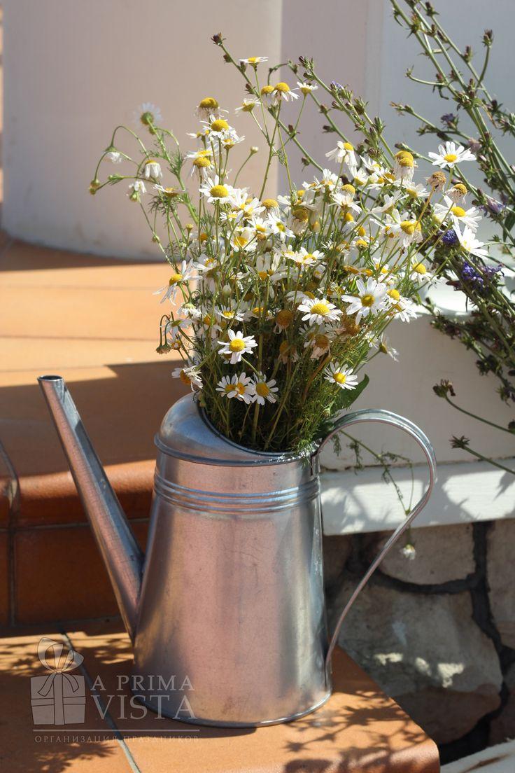 Rustic wedding ideas. Rustic decor. Watering pot. Camomile.