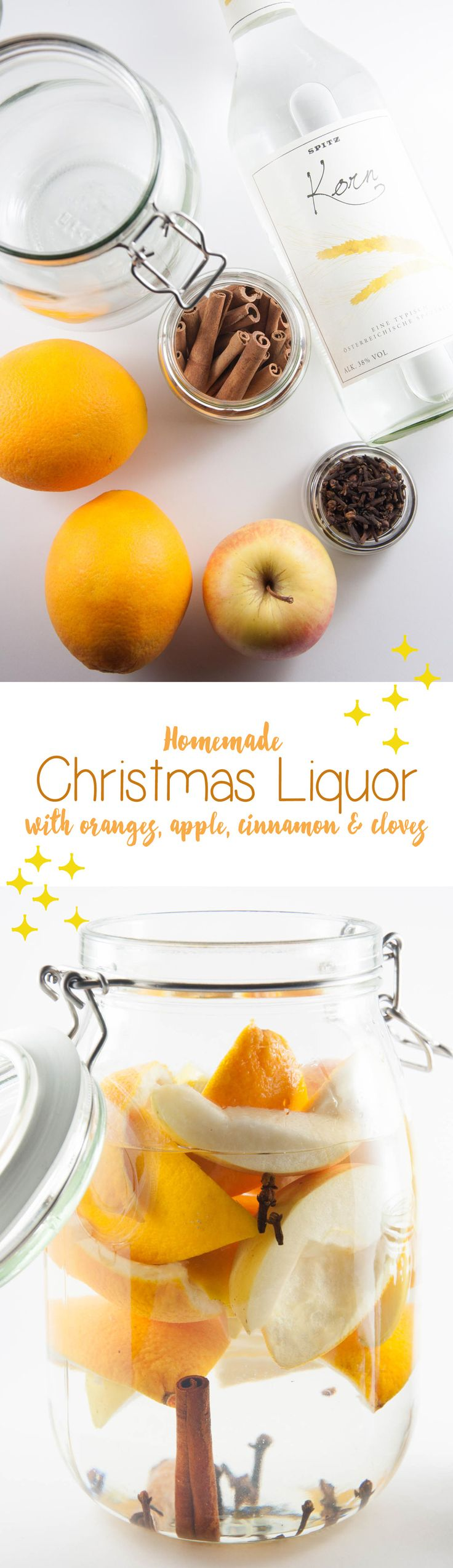 Make this homemade Christmas Liquor with apples, oranges, cinnamon and more! It's the perfect little gift for your relatives or co-workers.
