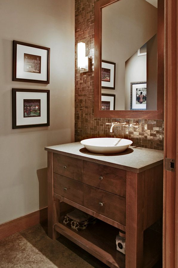 Bathroom vanity love the tile and the faucet too for Powder bathroom vanities