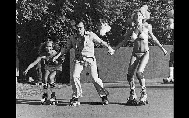 Hefner skating at The Playboy Mansion maybe May 1980.