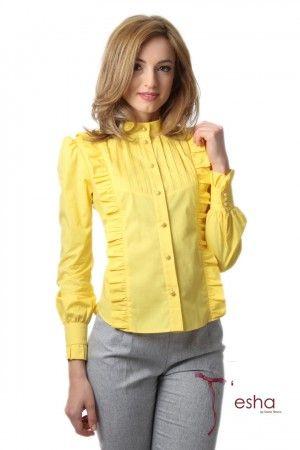 cămaşă galbenă cu volanaşe, cod 2126galben