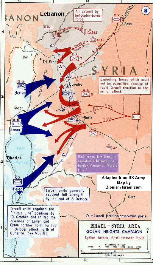Israel :: Map of Yom Kippur War October, 1973