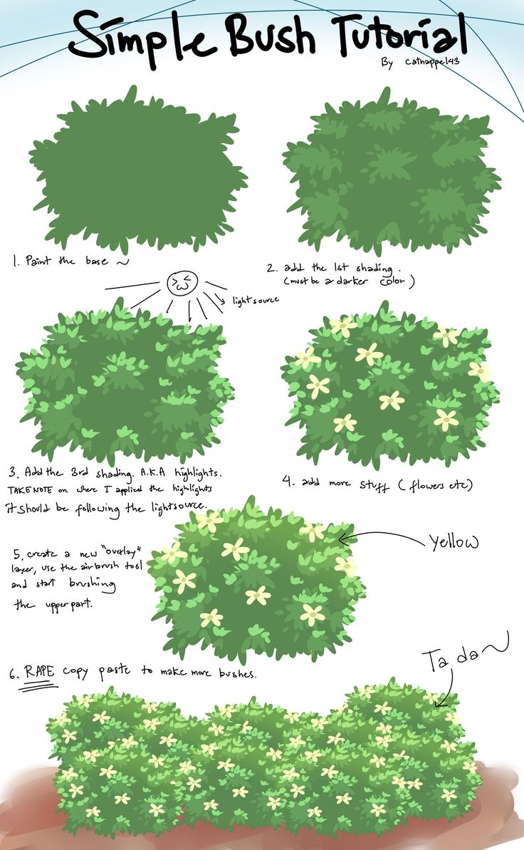 Bush tutorial by catnappe143.deviantart.com on @deviantART ✤ || CHARACTER DESIGN REFERENCES | キャラクターデザイン | • Find more at https://www.facebook.com/CharacterDesignReferences & http://www.pinterest.com/characterdesigh and learn how to draw: concept art, bandes dessinées, dessin animé, çizgi film #animation #banda #desenhada #toons #manga #BD #historieta #strip #settei #fumetti #anime #cartoni #animati #comics #cartoon from the art of Disney, Pixar, Studio Ghibli and more || ✤
