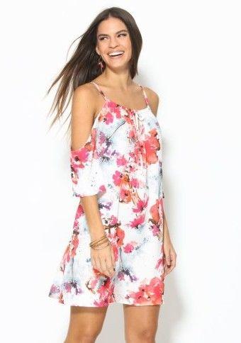 Květované šaty s odhalenými rameny a potiskem #ModinoCZ