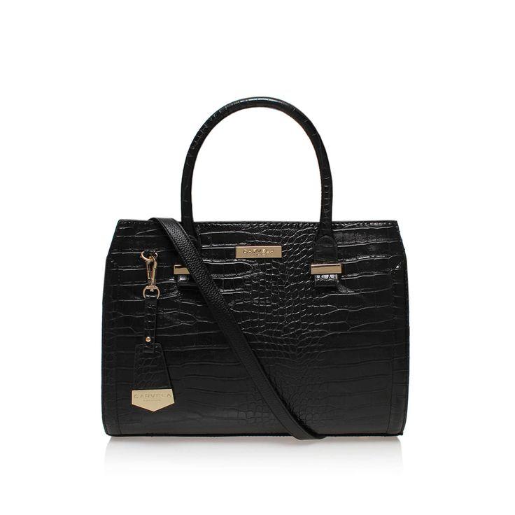 HOLLY CROC ZIP BAG Carvela Holly Croc Zip Bag Black by CARVELA KURT GEIGER