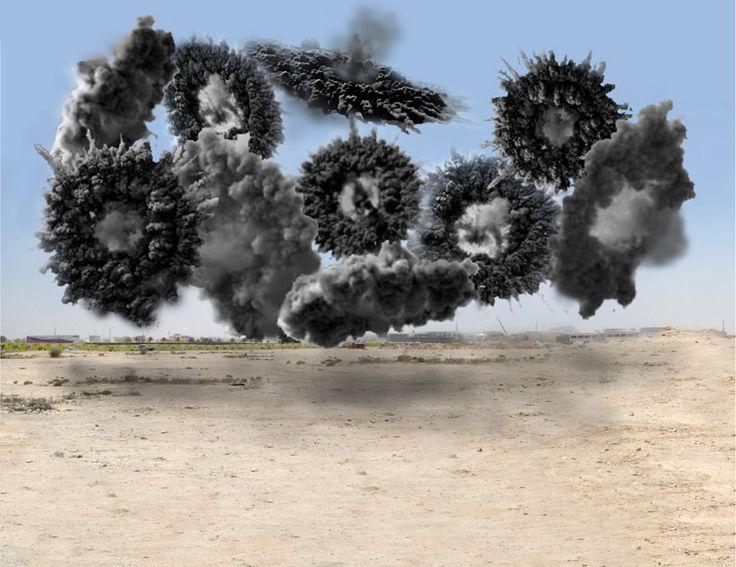 Daytime fireworks; cai guo qiang: saraab at mathaf arab museum of modern art, qatar