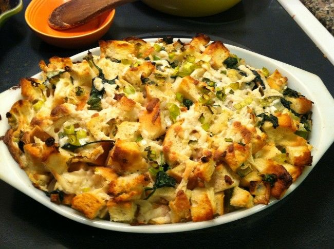 vegan spinach, scallion & leek breakfast casserole. The next time we make breakfast casserole we can make a vegan one too!