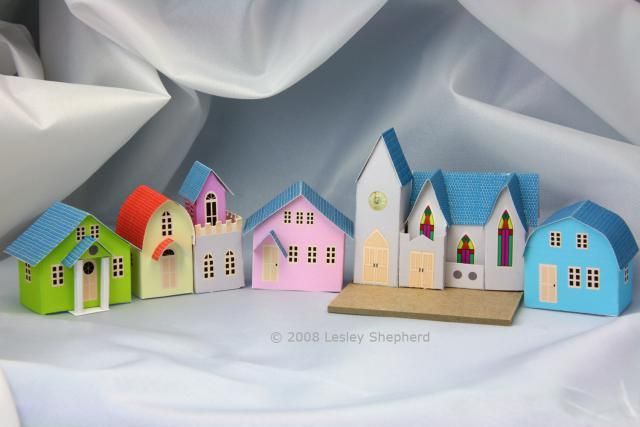 "Free Printables for an ""N""Scale  Glitter / Coconut House Village: Village Church and Bungalows"