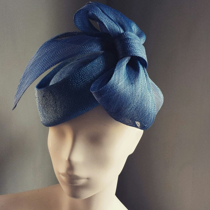 Royal blue pillbox Hat with sinamay bow.  MindYourBonce Millinery by Karen Geraghty