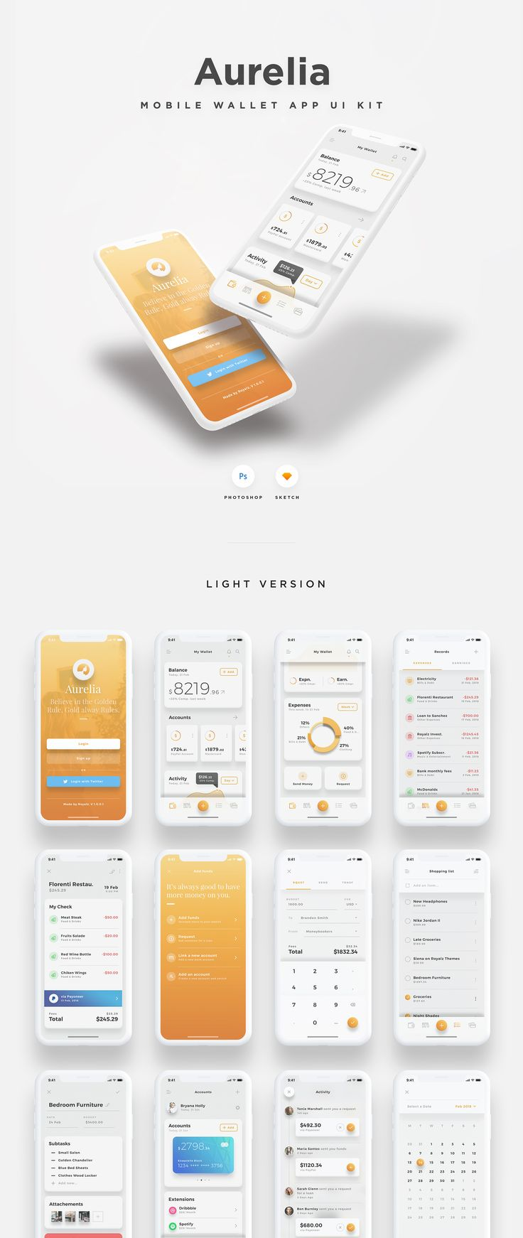 Aurelia is a minimal and modern Wallet app specially designed to fit right into the new iOS 11, The iPhone X and the 8th. It's the result of an obsession to simplify the user experience for money management, and help you radiate your true vision and ideas into a gorgeously clean design. It comes with a set of 17 Screens, Available in both Dark and Light Themes. With more than 75 highly customizable elements, Retina and 100% Vector Shapes. Aurelia have all the right tools for your next b...