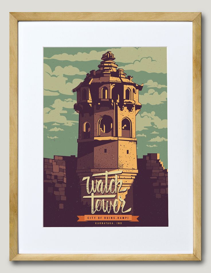 WATCHTOWER | In his artist series, Ranganath Krishnamani captures the ancient architecture at Hampi. Intended to give a vantage point to prison guards, Hampi's large and carefully constructed Watchtower lies in ruins. || Artist Series | Artist - Ranganath Krishnamani || Choice of White, Black, Pine Frame || A5 / A4 / A3 / A2 || #ThisIsArt ● #ArtOfOurTimes ● Own it & #SupportTheArtist | ☏ (+91) 22 26550982 ||