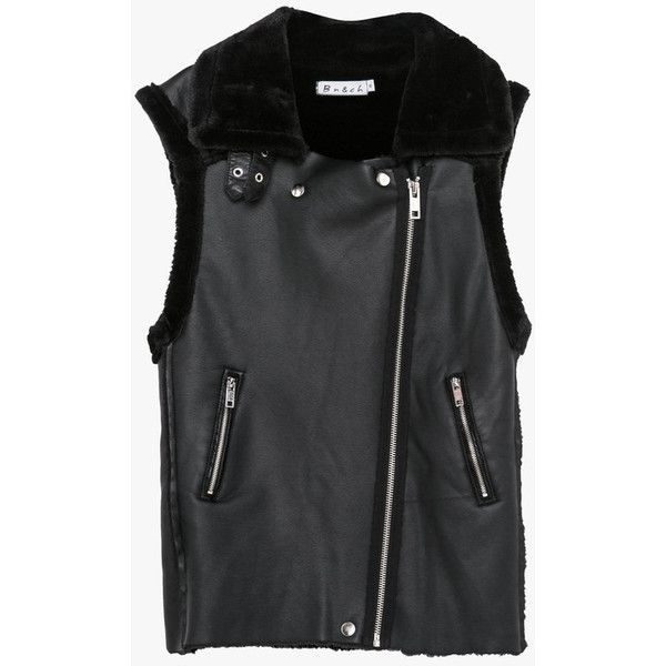 Black Faux Leather and Fur Vest (£52) ❤ liked on Polyvore featuring outerwear, vests, black, faux leather vest, black fur vest, vest waistcoat, black faux leather vest and black waistcoat