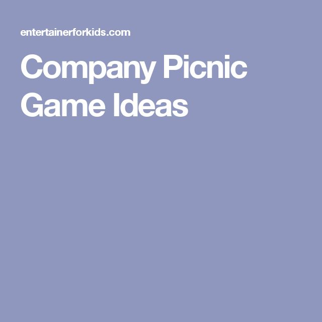 Company Picnic Game Ideas