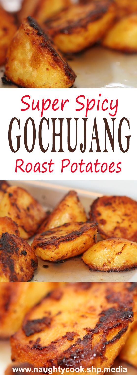 This gochujang roast potatoes recipe was inspired by my success with Marmite roast potatoes. I thought that as it had worked well there is should also work by substituting gochujang for the Marmite, although here I also add a sprinkling of sea salt at the end.