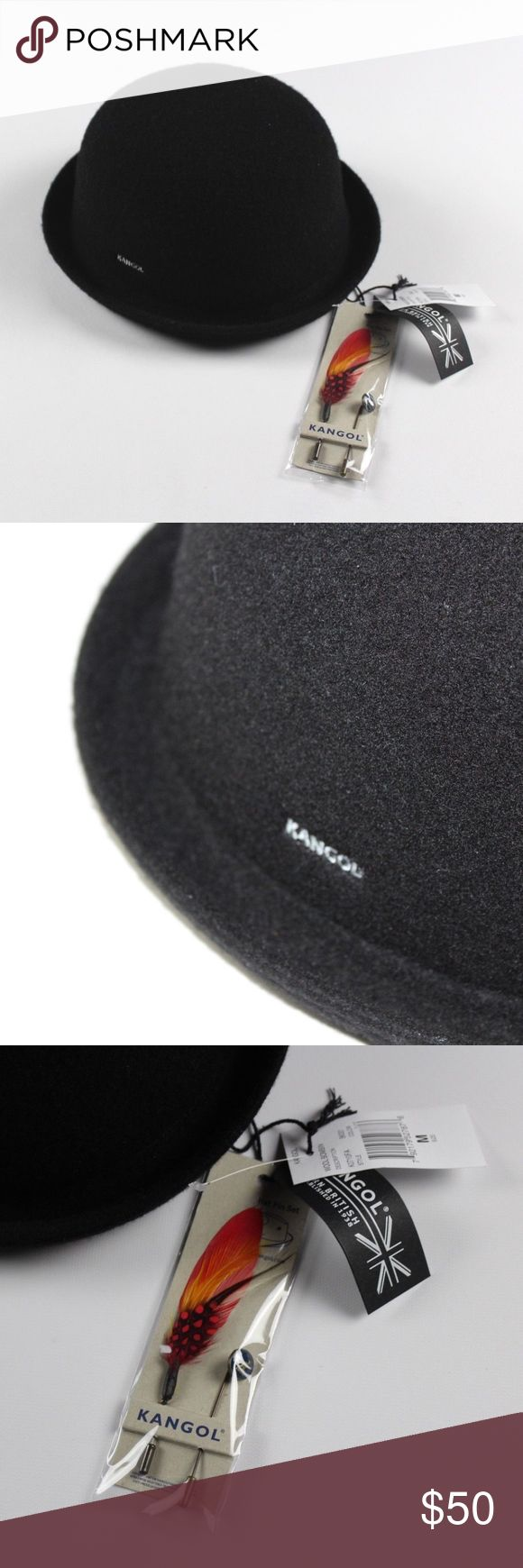 New Kangol Medium Wool Bombin Bowler Derby Hat Cap Kangol Wool Bombin Bowler Derby Hat  Excellent hat  New with Tags  Black  60% Wool 40% Acrylic  Size is Medium and comes with 2 hat pins   Check out my other items for sale in my store!  L1 Kangol Accessories Hats