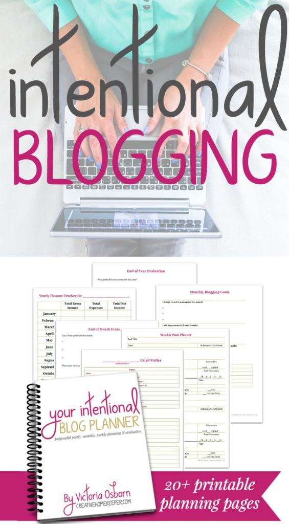 Blog with Intention & Purpose // Your Intentional Blog Planner is a clean and simple planning and evaluation tool that will take your blog to the next level with over 20 customizable, printable pages.