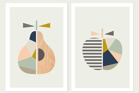 Apple Pear Prints,(Pink and blue),Series of Two minimalist Scandinavian Art, Apple print,Pear Print, Modern Nursery Art,Scandi art,Kids art, Apple art.
