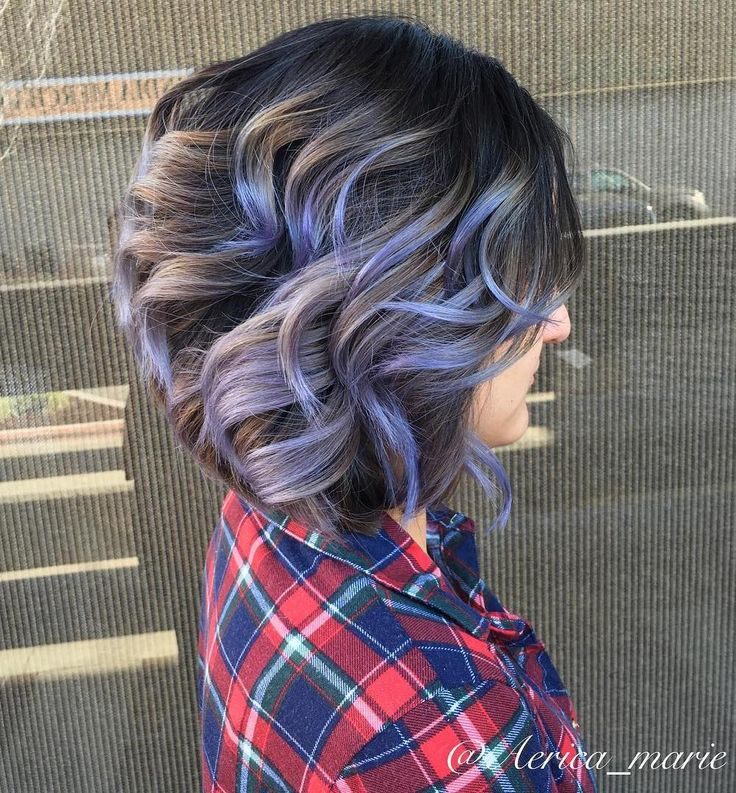 Brown Balayage Bob With Purple Highlights..love the color