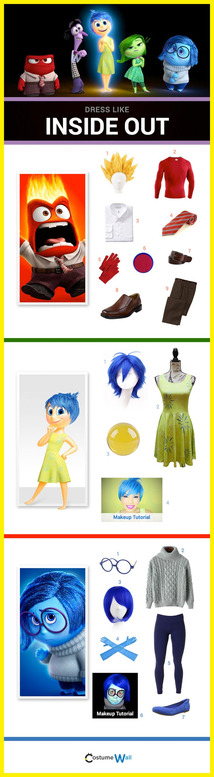 Costume inspiration from the hit Disney movie, Inside Out. Dress like Anger, Fear, Joy, Sadness, Disgust and Riley.