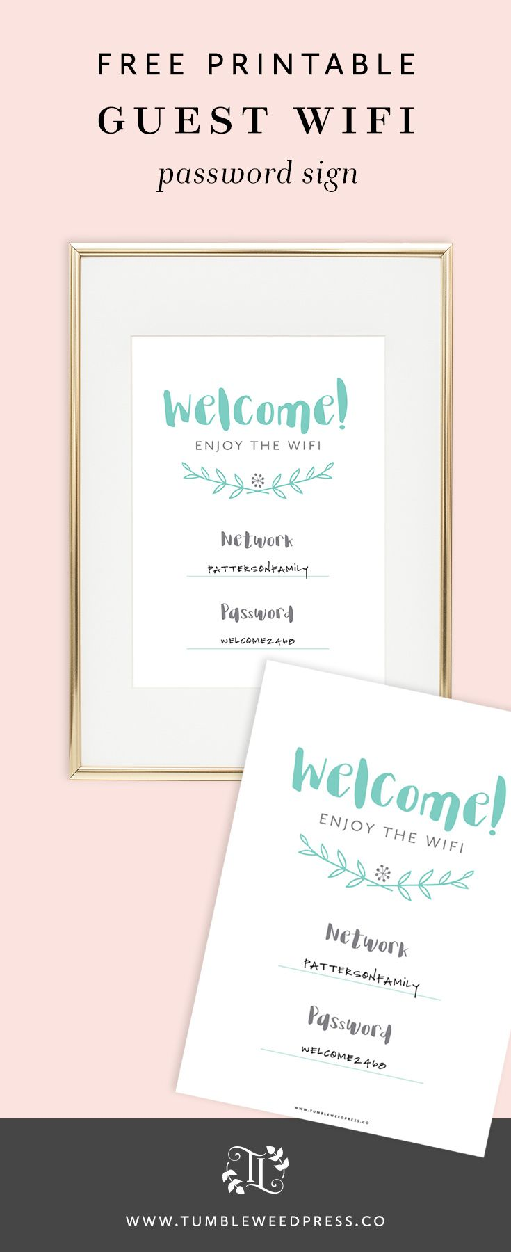 Free Printable Guest Wifi Password Sign by TumbleweedPress.Co