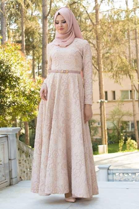 TUAY - Tuay - Kemerli Pudra Tesettür Abiye Elbise 17870PD
