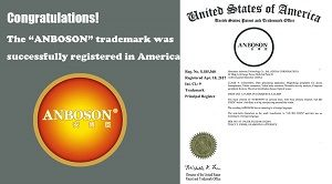 """We're pleased to announce the successful registration of our trademark """"ANBOSON"""" in the USA by United States Patent and Trademark Office. With patent number of 5185360, the """"ANBOSON"""" trademark will be protected starting from 28th April, 2017 to 28th April, 2027 in the United States."""