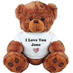 I Love You Jane Romantic Valentines Gift: Medium Plush Teddy Bear