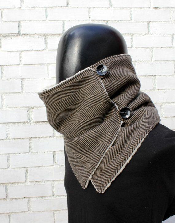 Men scarf. Men cowl Extra Wide Herringbone wool by CheriDemeter
