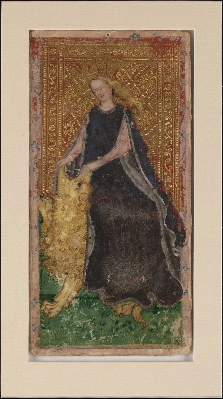 Visconti Tarot, 1428-1447; From: Cary Collection of Playing Cards; [Creator:	Bembo, Bonifacio, fl. 1447-1478, d. bef. 1482], 1 card, 19x9 cm